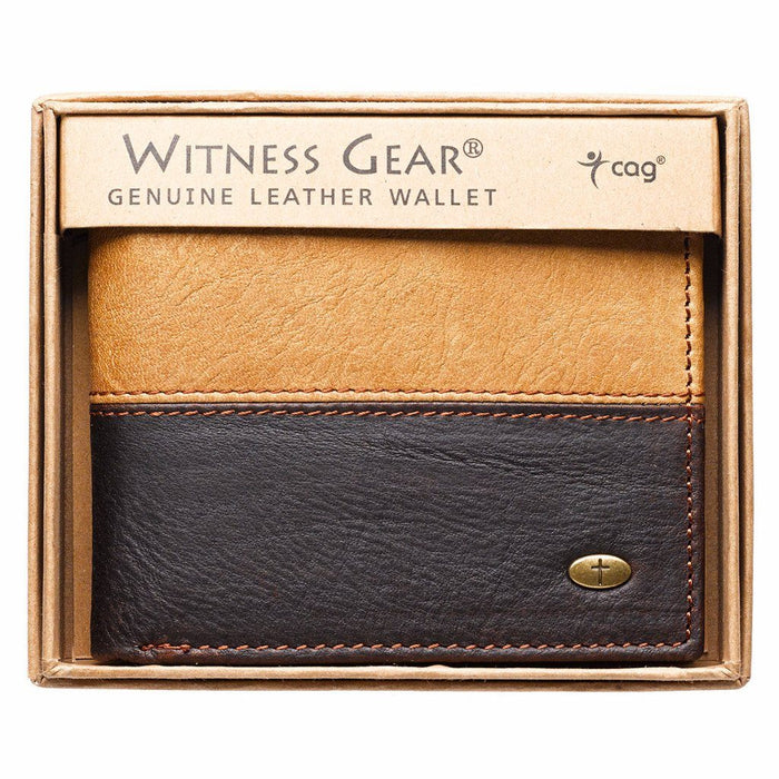 Two-Tone Brown with Cross Stud Leather Wallet