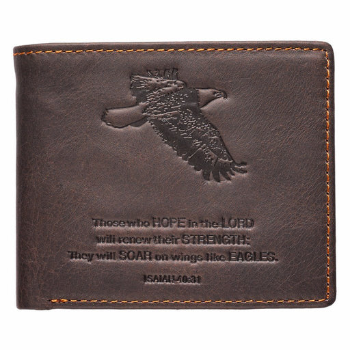 Debossed Eagle in Dark Brown - Isaiah 40:31 Leather Wallet