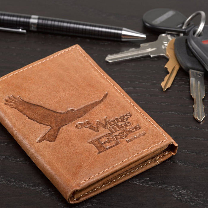 Eagle Tri-Fold in Saddle Tan - Isaiah 40:31 Leather Wallet