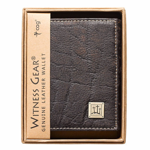 Three Crosses in Brown Leather Wallet