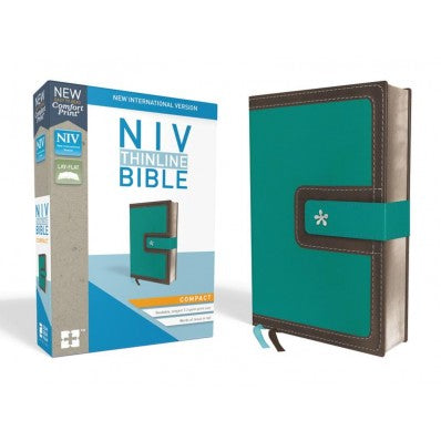 NIV, Thinline Bible, Compact, Leathersoft, Blue/Brown, Red Letter Edition, Comfort Print