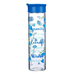 Glass Water Bottle: Serenity Prayer