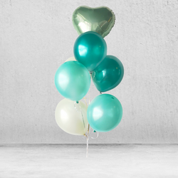 Minty Metallic Balloon Bunch