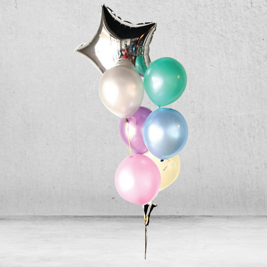 Pastel Rainbow Metallic Balloon Bunch