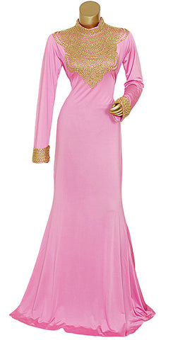 Pink High Neck Beaded Kaftan/10088/1/22