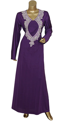Purple V Neck Long Sleeve Spandex Kaftan With Stone And Pearls / Caftan / Gown / Large / 1621/10/17