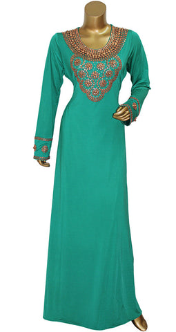 Green Round Neck Beaded Kaftan/1501/23/17