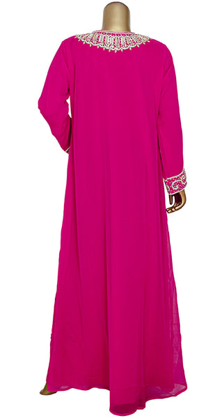 Chiffon Kaftan With Zari And Bead Work