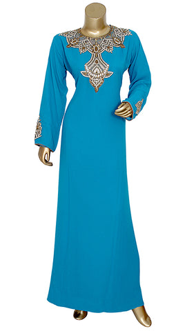 Pure Chiffon Hand Embroidered Kaftan With And Pearls