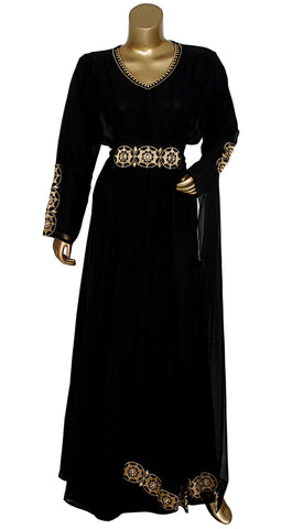 Black Embroidered Kaftan With Dupatta/10742/3/23