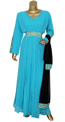Blue Embroidered Kaftan With Dupatta/10742/3/23