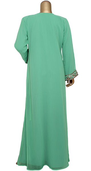 Chiffon kaftan with zardosi work