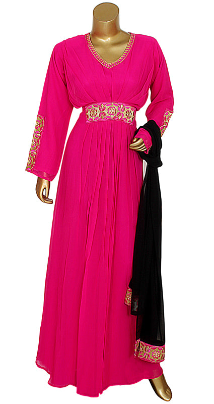 Fuschia Pink Embroidered Kaftan With Dupatta/10742/3/23
