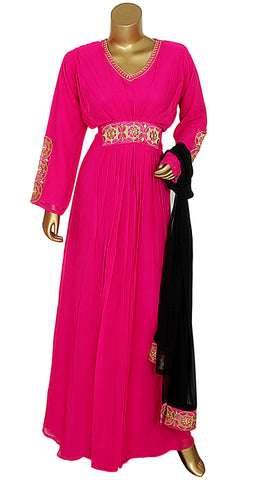 Pink Embroidered Kaftan With Dupatta/10742/3/23