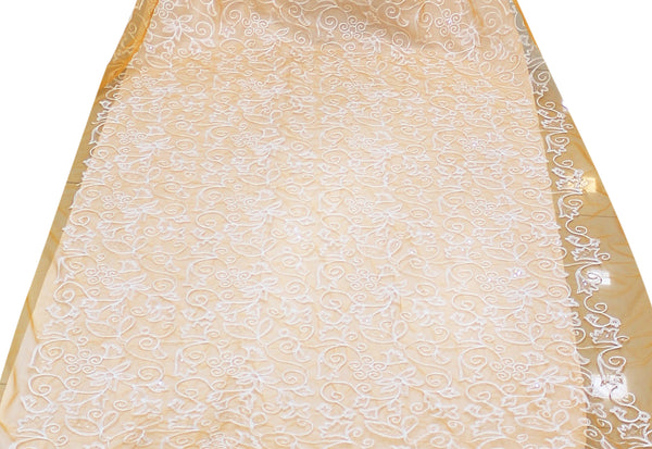 Net Resham Stone Embroidered Fabric,Width 58'' Inches.