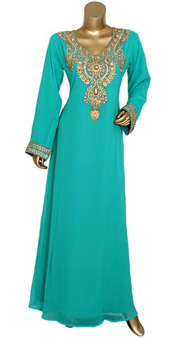 Embroidered Kaftan With Antique Gold Design