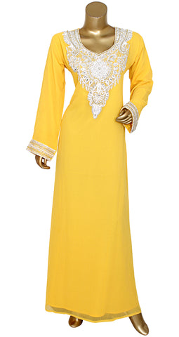 Chiffon kaftan with pearl work