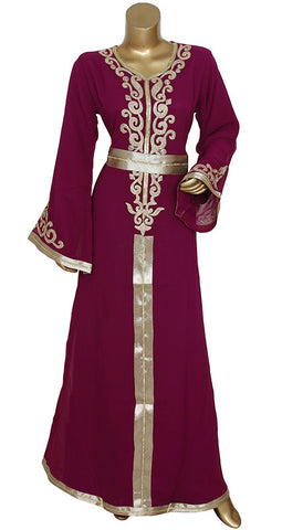 Magenta V Neck Embroidered Kaftan/9006/1/24