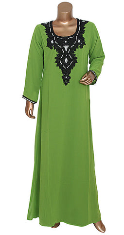 Olive Green Round Neck Long Sleeve Chiffon Kaftan With Stone Work / Gown / M / 2XL / 11942/1/16