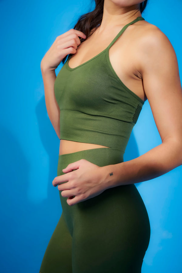 No Scratch! Seamless Power Bra in Olive