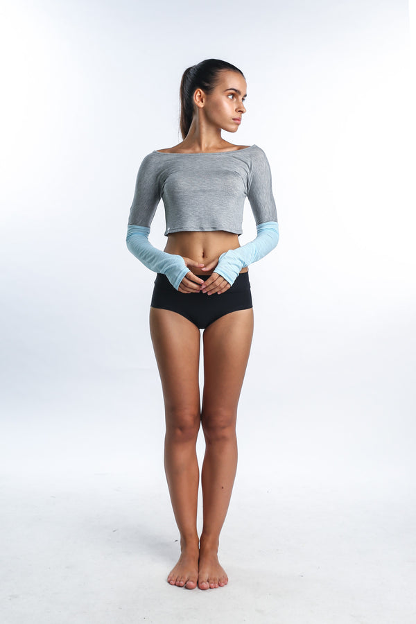 Serene Yogini Crop in Grey - Rangoon Singapore