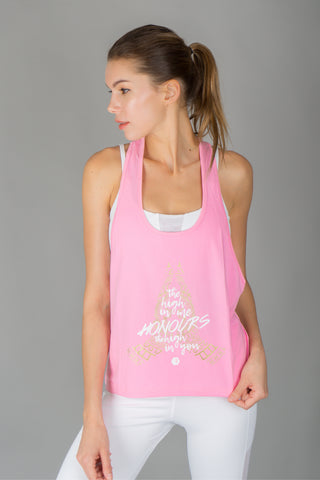 """High-On"" Namaste Singlet in Pink"