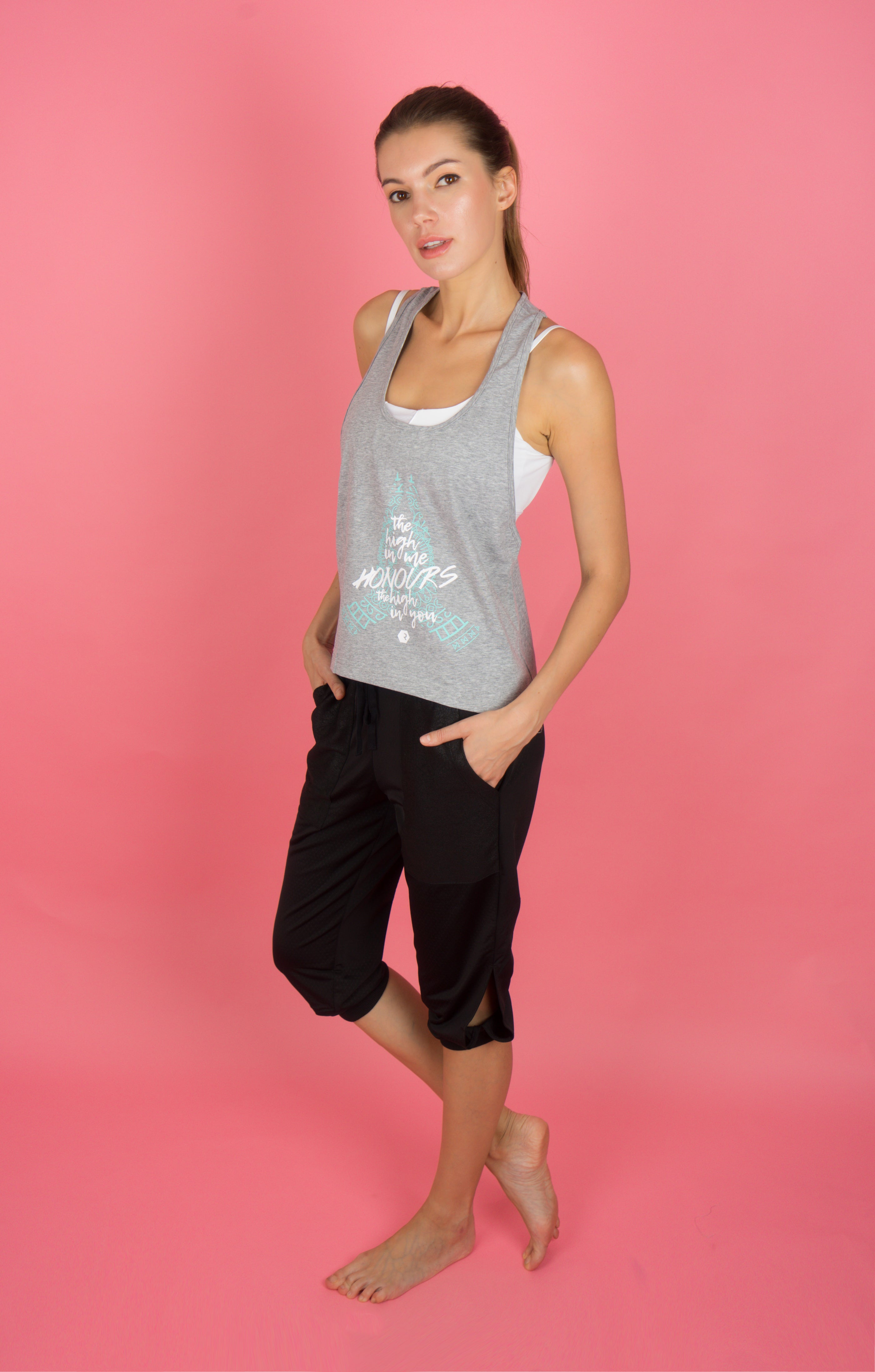 """High-On"" Namaste Singlet in Grey"