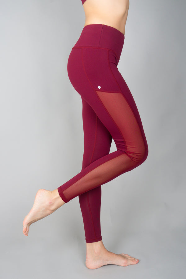 Portia Hi-Mesh Leggings in Merlot