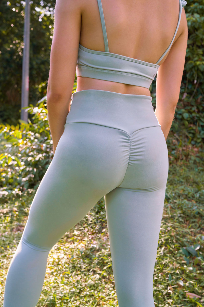 Plié 7/8 Cropped Legging in Sage Green - Rangoon Singapore