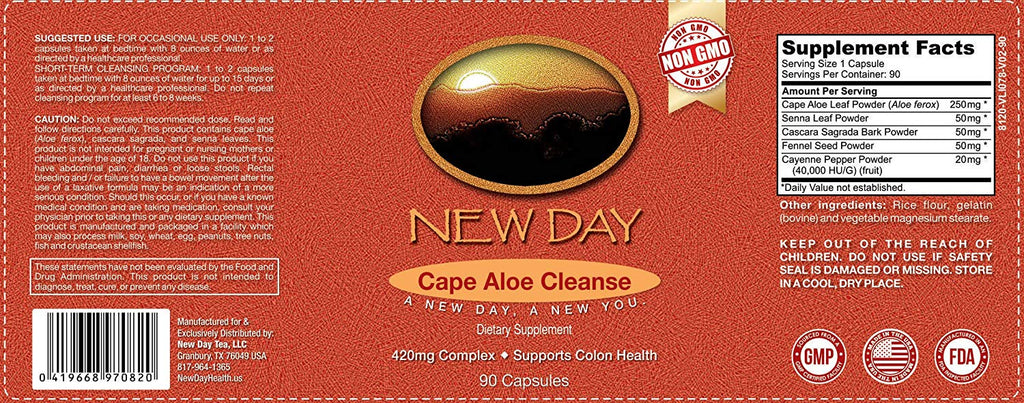 Cape Aloe Cleanse | Natural Laxatives For Constipation |  Non-GMO Capsules