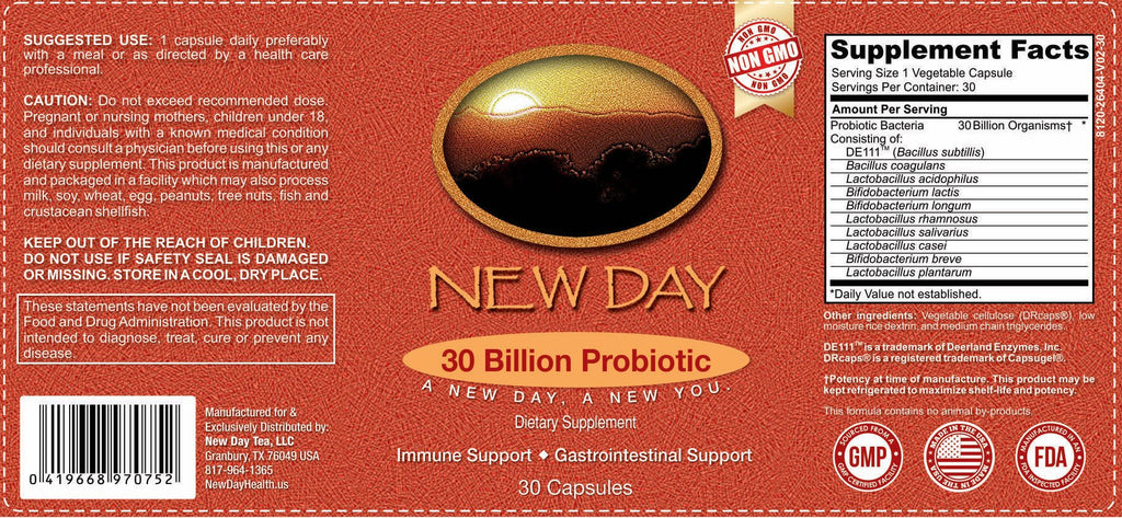 30 Billion Probiotic Supplement with Patented DE111 |1 Month Supply