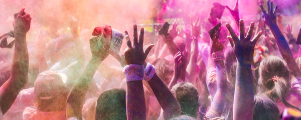 Holi Festival - coloured powder being thrown