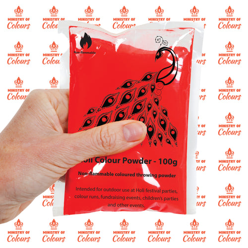 Red Holi Colour Powder - 100 x 100g packets