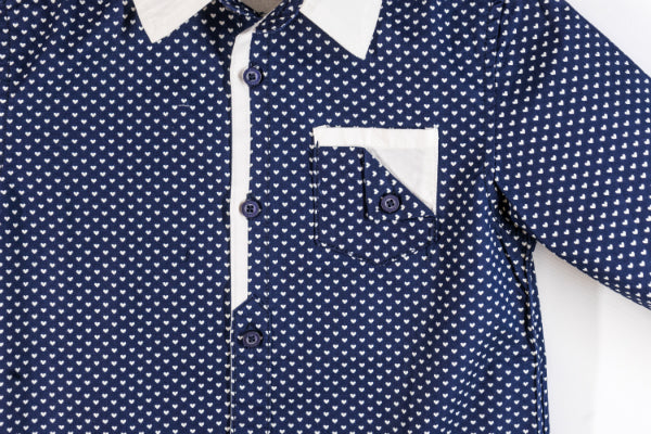 Long Sleeve Shirt with White Heart Print (Blue)