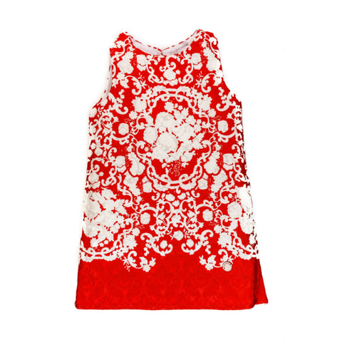 Sleeveless Red Dress with White Floral Motifs