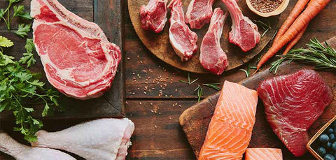 flatlay of meats and proteins including chicken beef salmon lamb