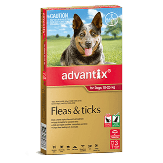 Advantix Flea Treatment for Dogs 10-25Kg - 3's (Red) - Petzyo