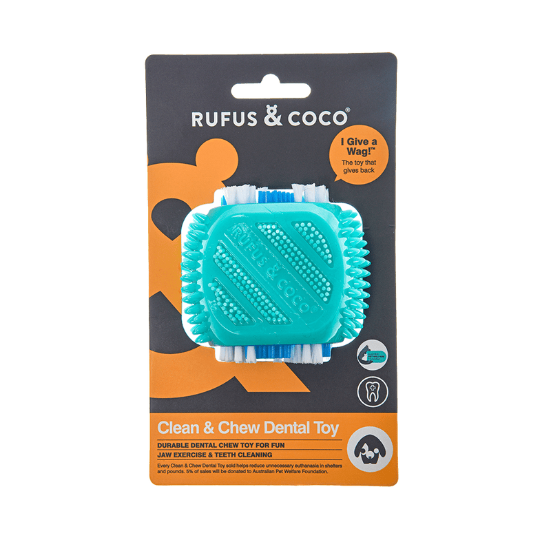 Rufus and Coco Clean & Chew Dental Toy - Multiple Colours - Petzyo