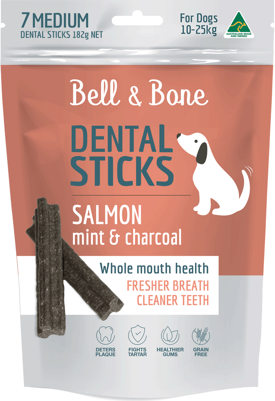 Bell and Bone Dental Sticks - Salmon, Mint and Charcoal (Multiple Sizes) - Petzyo