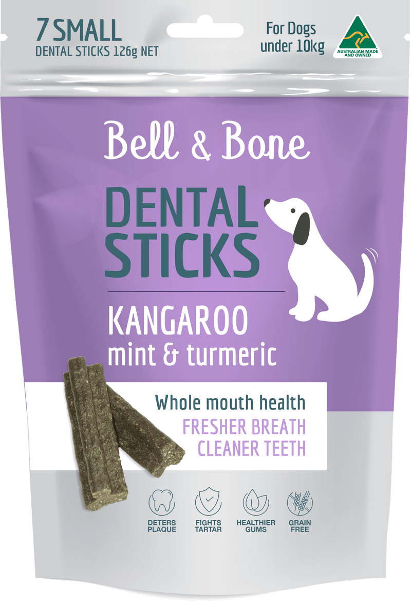 Bell & Bone Dental Sticks - Kangaroo, Mint & Turmeric (Multiple Sizes) - Petzyo
