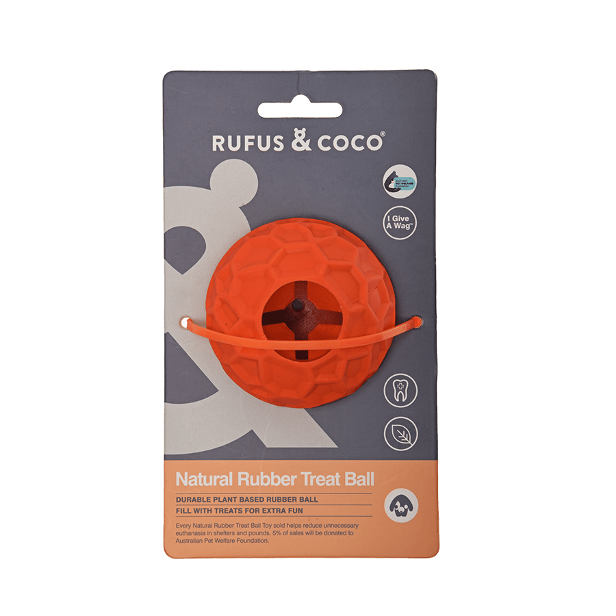 Rufus and Coco Natural Rubber Treat Ball - Multiple Colours - Petzyo
