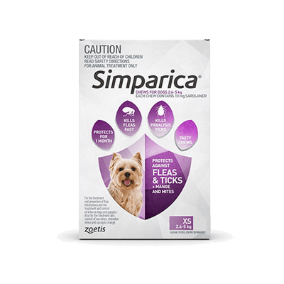 Simparica <span> 2.6-5kg </span> Extra Small Dog 3's (Purple) - Petzyo