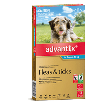 Advantix Flea Treatment for Dogs 4-10Kg - 3's (Teal) - Petzyo