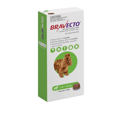 BRAVECTO MEDIUM DOG GREEN 10-20KG 1PACK - Petzyo