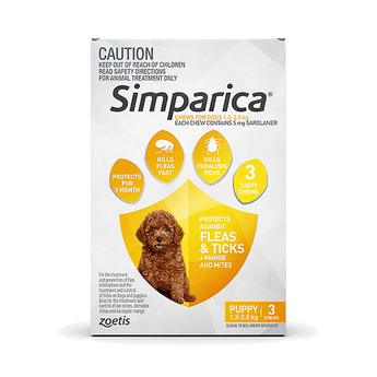 SIMPARICA <span> 1.3-2.5KG </span> XXS DOG 3'S (YELLOW)