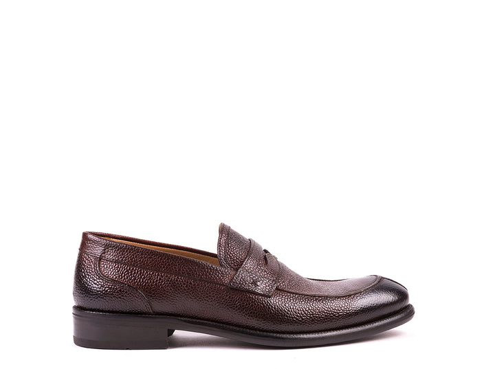 Penny Loafers // Brown pebble-grain leather