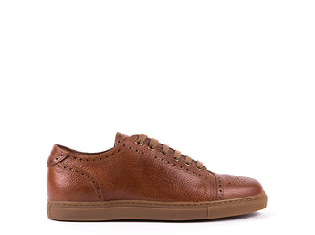 Sneakers // Camel Pebble-Grain Leather