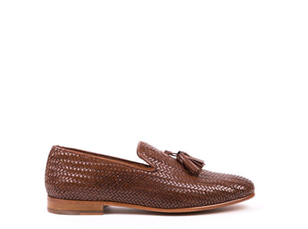 Tasseled Loafers // Brown braided leather