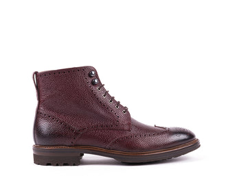 Lace Up Boots // Bordeaux Engraved Leather
