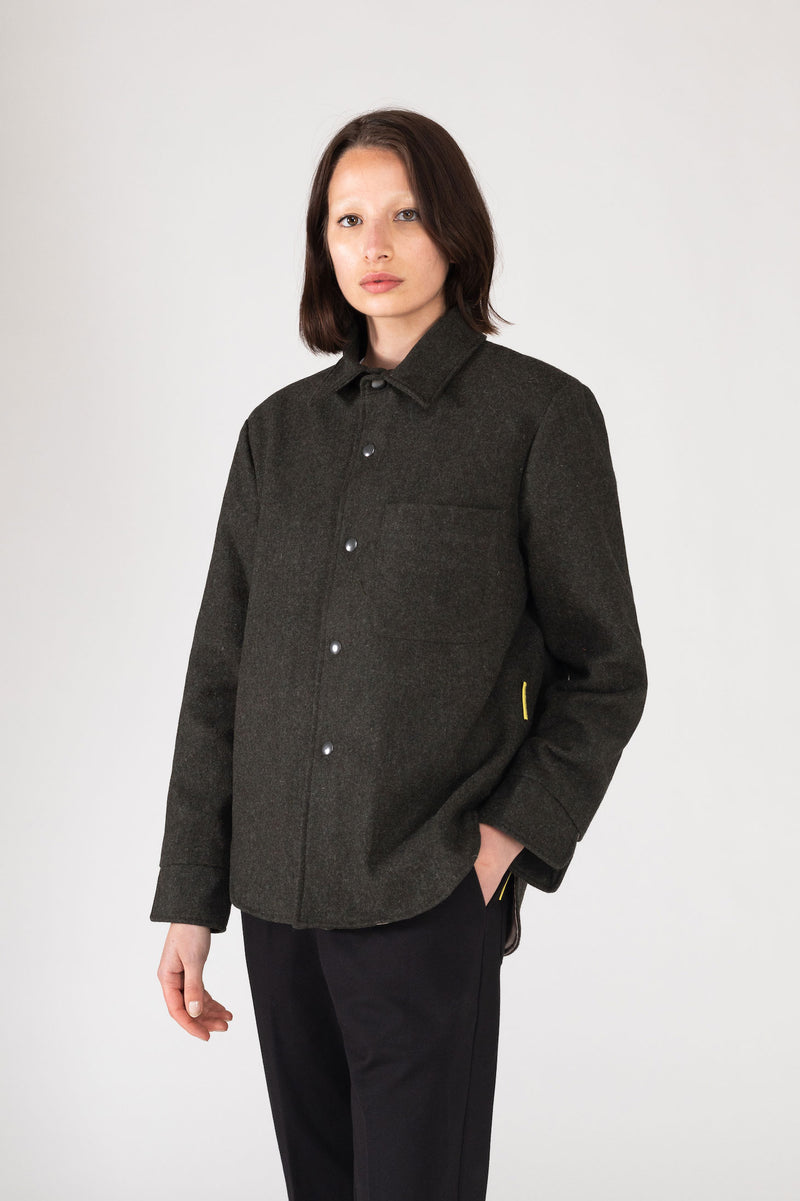 """BLEND"" GREEN WOOL OVERSHIRT"
